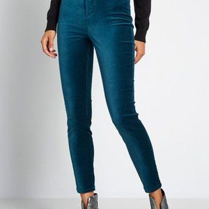 Modcloth Blue Velvet Simply Divine Skinny Pants